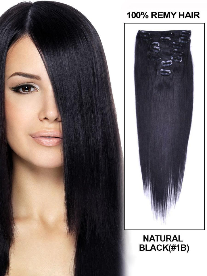 Clip In Human Remy Hair Extensions Straight 8 Pieces (#1B Natural Black)