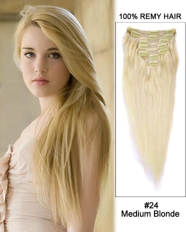 Clip In Human Remy Hair Extensions Straight 10 Pieces (#24 Medium Blonde)