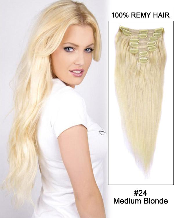 Clip In Human Remy Hair Extensions Straight 7 Pieces (#24 Medium Blonde)