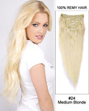 16 - 26 Inch Clip In Human Remy Hair Extensions Straight 7 Pieces (#24 Medium Blonde)