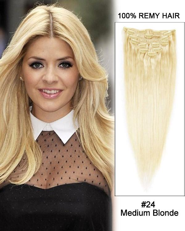 Clip In Human Remy Hair Extensions Straight 8 Pieces (#24 Medium Blonde)