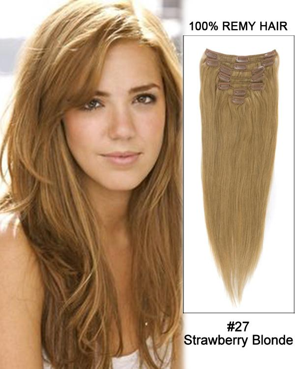 Clip In Human Remy Hair Extensions Straight 10 Pieces (#27 Strawberry Blonde)