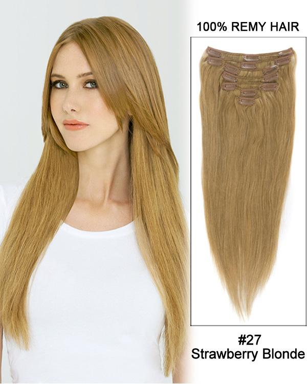 Clip In Human Remy Hair Extensions Straight 7 Pieces (#27 Strawberry Blonde)