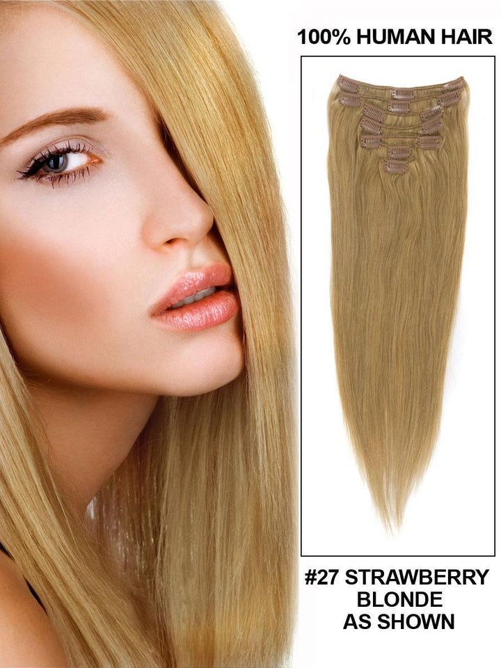 Clip In Human Remy Hair Extensions Straight 8 Pieces (#27 Strawberry Blonde)