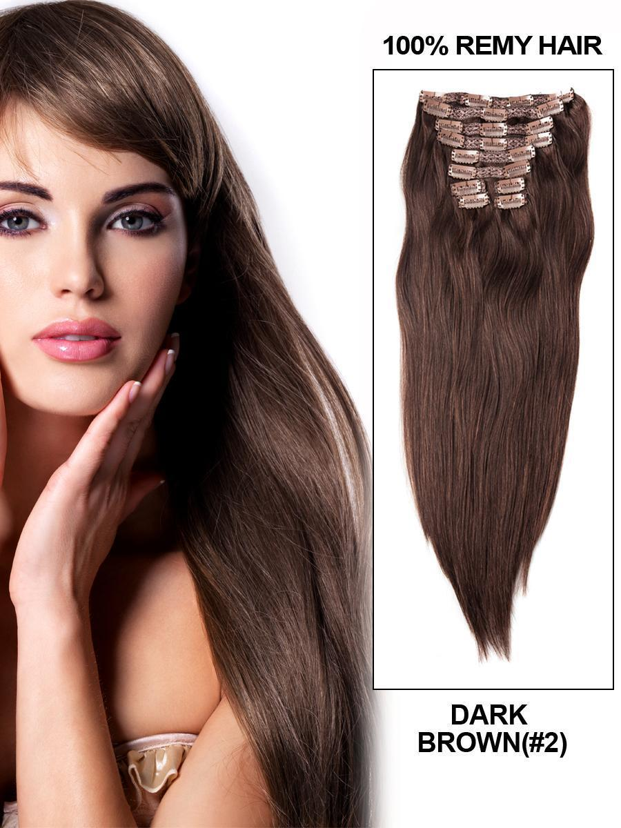 Clip In Human Remy Hair Extensions Straight 10 Pieces (#2 Dark Brown)