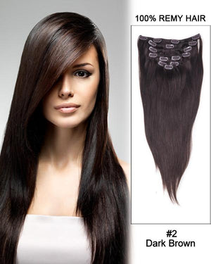Clip In Human Remy Hair Extensions Straight 7 Pieces (#2 Dark Brown)
