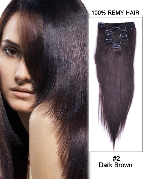 Clip In Human Remy Hair Extensions Straight 8 Pieces (#2 Dark Brown)