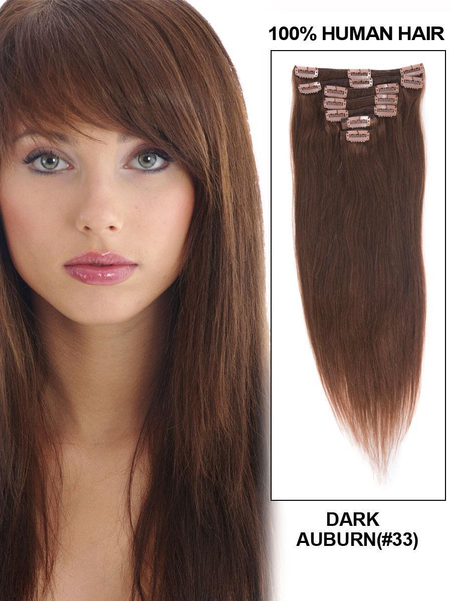 Clip In Human Remy Hair Extensions Straight 10 Pieces (#33 Dark Auburn)