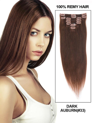 Clip In Human Remy Hair Extensions Straight 7 Pieces (#33 Dark Auburn)