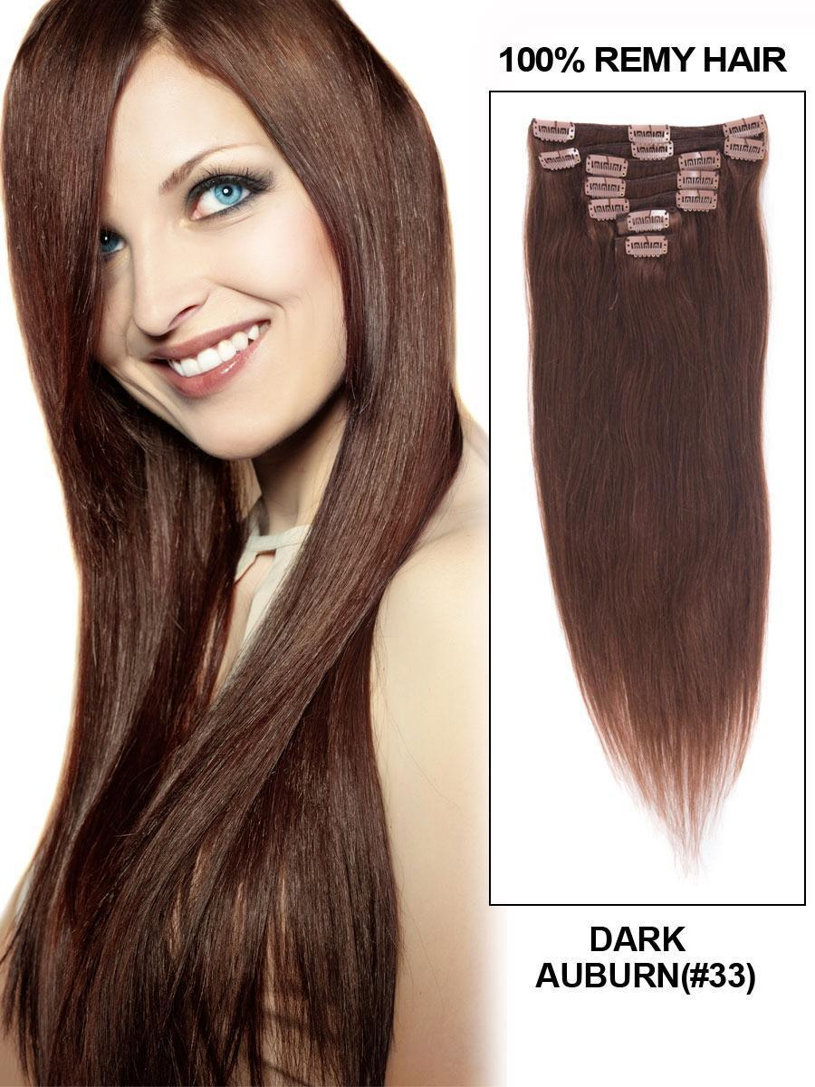 Clip In Human Remy Hair Extensions Straight 8 Pieces (#33 Dark Auburn)
