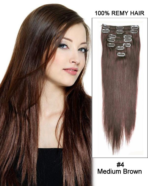 Clip In Human Remy Hair Extensions Straight 10 Pieces (#4 Medium Brown)