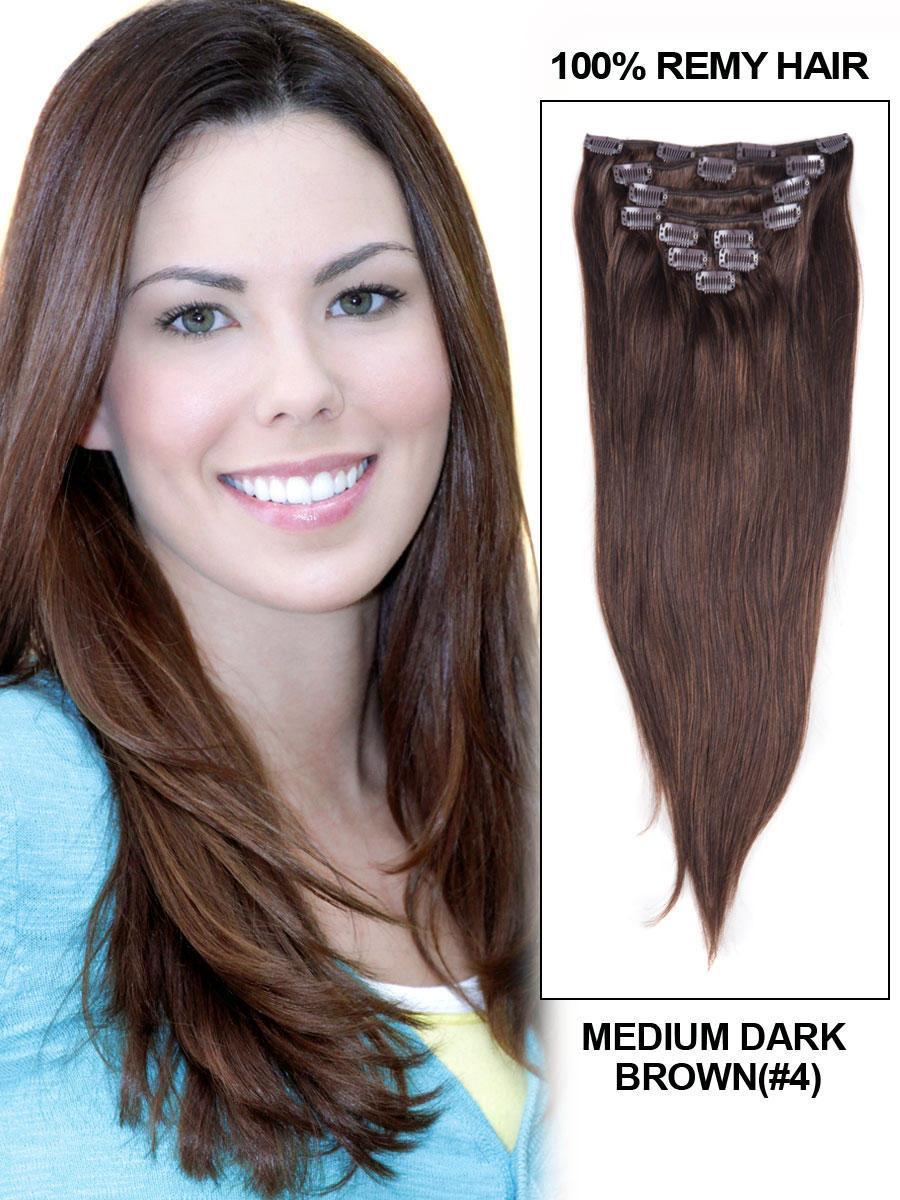 Clip In Human Remy Hair Extensions Straight 7 Pieces (#4 Medium Brown)