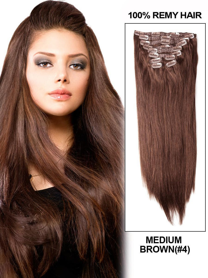 Clip In Human Remy Hair Extensions Straight 8 Pieces (#4 Medium Brown)