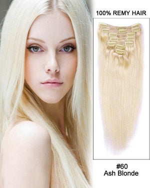 Clip In Human Remy Hair Extensions Straight 7 Pieces (#60 White Blonde)