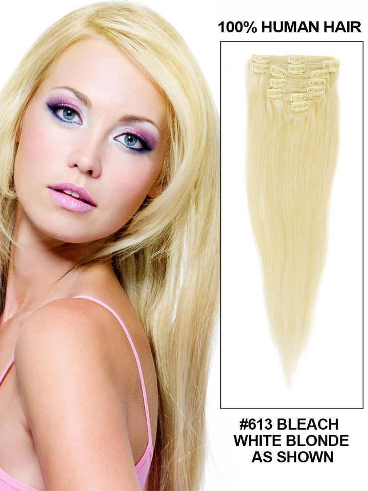 Clip In Human Remy Hair Extensions Straight 10 Pieces (#613 Bleach Blonde)