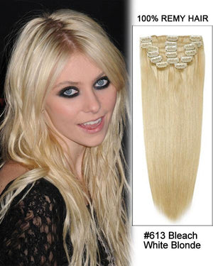 Clip In Human Remy Hair Extensions Straight 7 Pieces (#613 Bleach Blonde)