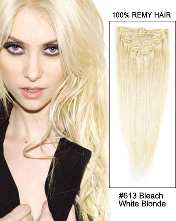 Clip In Human Remy Hair Extensions Straight 8 Pieces (#613 Bleach Blonde)