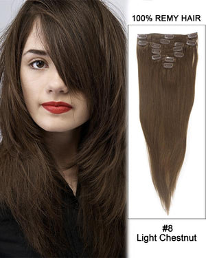Clip In Human Remy Hair Extensions Straight 10 Pieces (#8 Ash Brown)