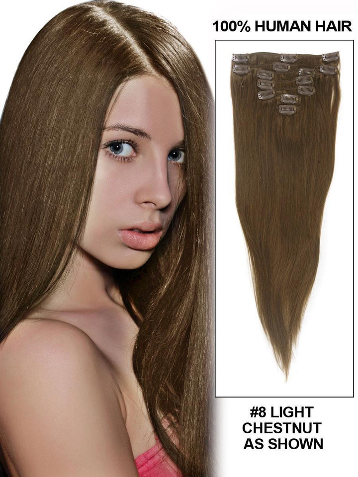 Clip In Human Remy Hair Extensions Straight 7 Pieces (#8 Ash Brown)