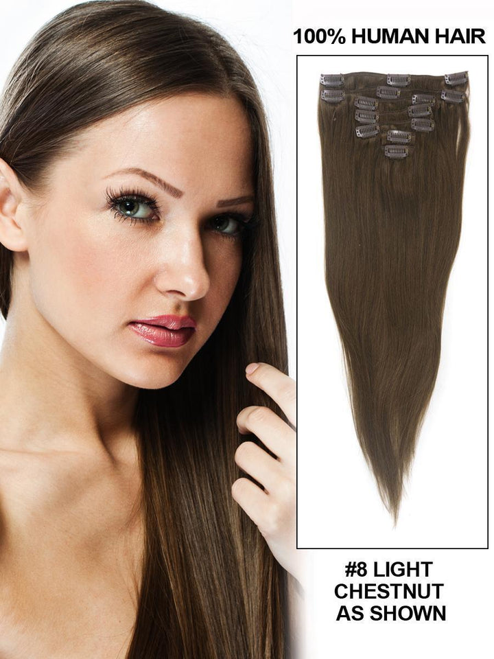 Clip In Human Remy Hair Extensions Straight 8 Pieces (#8 Ash Brown)