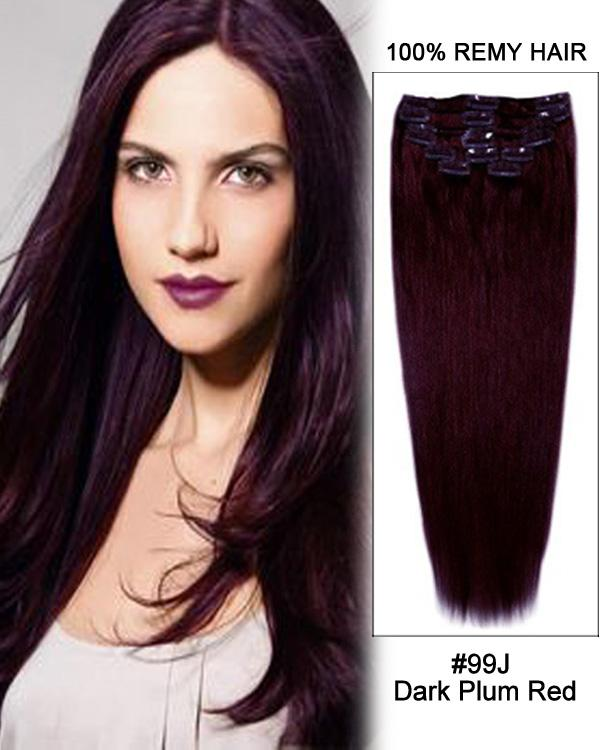 Clip In Human Remy Hair Extensions Straight 8 Pieces (#99J Burgundy)