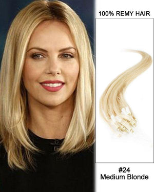 18 – 24 Inch Micro Loop Human Remy Hair Extensions Straight (#24 Medium Blonde)