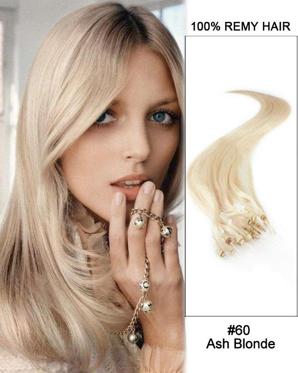 18 – 24 Inch Micro Loop Human Remy Hair Extensions Straight (#60 White Blonde)