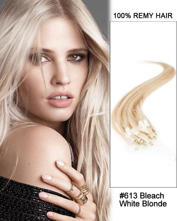 18 – 24 Inch Micro Loop Human Remy Hair Extensions Straight (#613 Bleach Blonde)