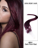 18 – 24 Inch Micro Loop Human Remy Hair Extensions Straight (#99J Burgundy)