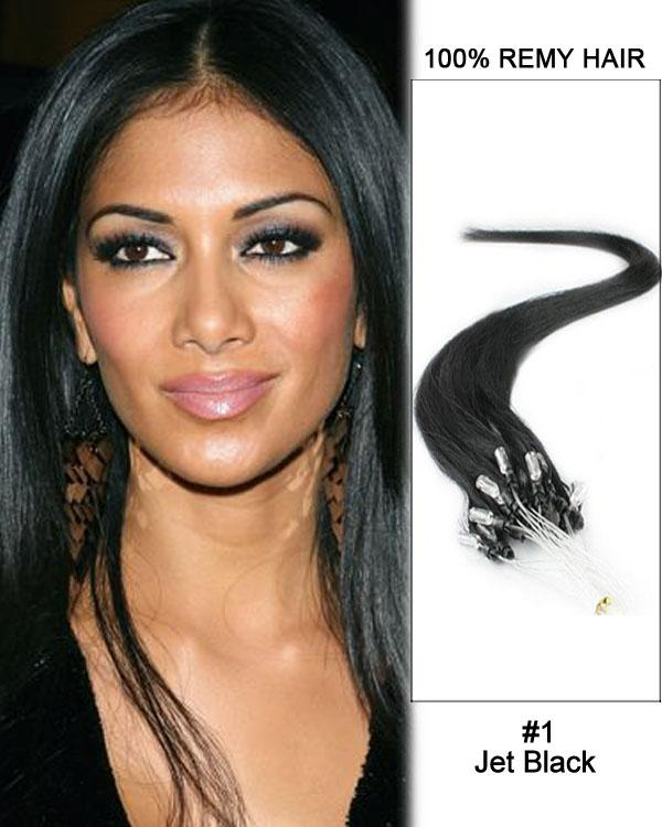 18 – 24 Inch Micro Loop Remy Hair Extensions Straight (#1 Jet Black)