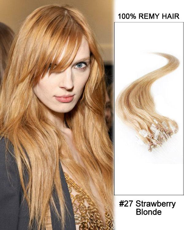 18 – 24 Inch Micro Loop Remy Hair Extensions Straight (#27 Strawberry Blonde)