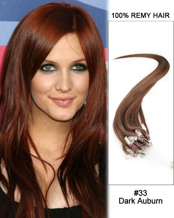 18 – 24 Inch Micro Loop Remy Hair Extensions Straight (#33 Dark Auburn)