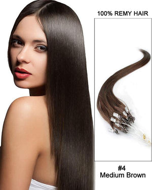 18 – 24 Inch Micro Loop Remy Hair Extensions Straight (#4 Medium Brown)