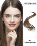 18 – 24 Inch Micro Loop Remy Hair Extensions Straight (#6 Light Brown)