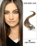 18 – 24 Inch Micro Loop Remy Hair Extensions Straight (#8 Ash Brown)