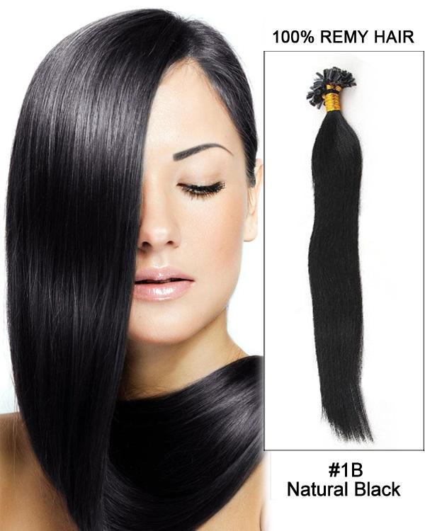 16 – 24 Inch Nail U-Tip Human Remy Hair Extensions Straight (#1B Natural Black)