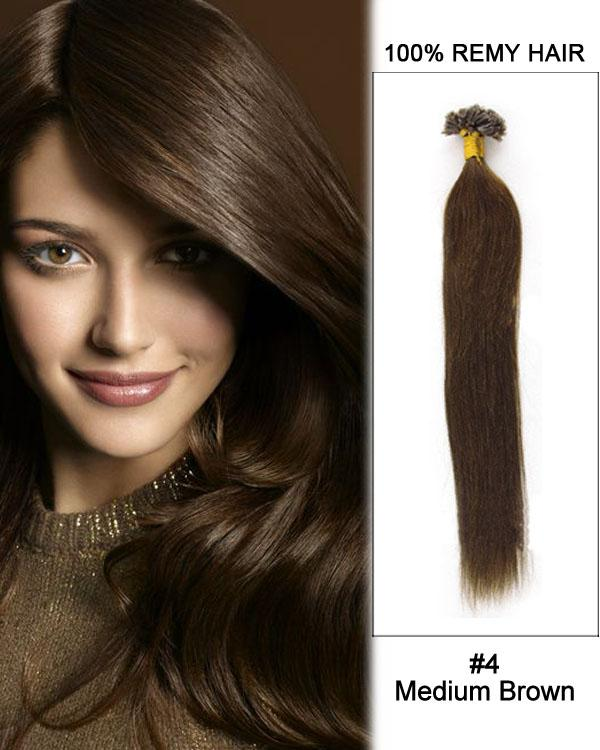 16 – 24 Inch Nail U-Tip Human Remy Hair Extensions Straight (#4 Medium Brown)