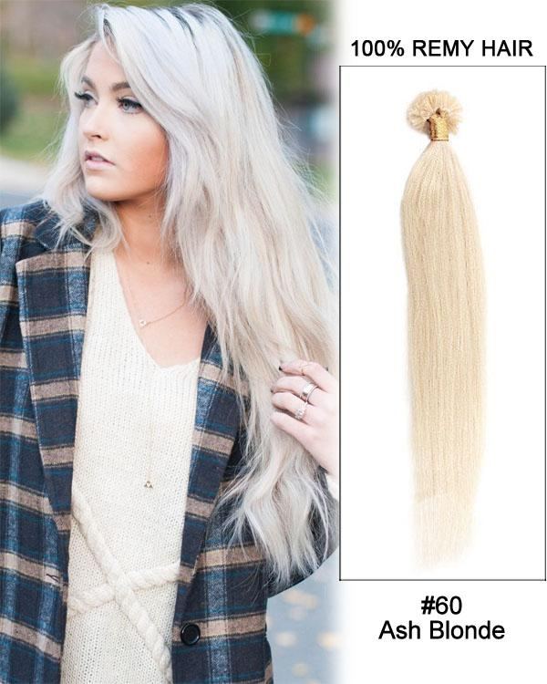 16 – 24 Inch Nail U-Tip Human Remy Hair Extensions Straight (#60 White Blonde)