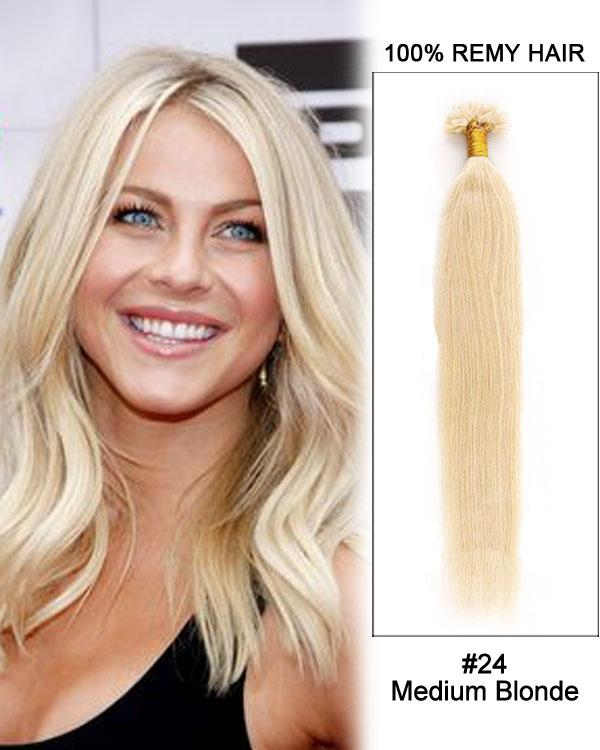 16 – 24 Inch Nail U-Tip Remy Human Hair Extensions Straight (#24 Medium Blonde)