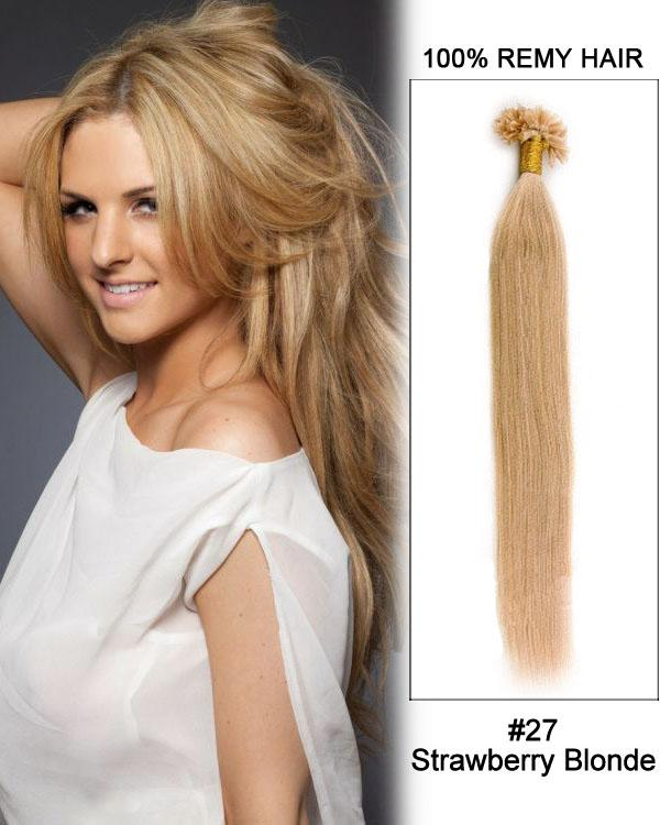 16 – 24 Inch Nail U-Tip Remy Human Hair Extensions Straight (#27 Strawberry Blonde)