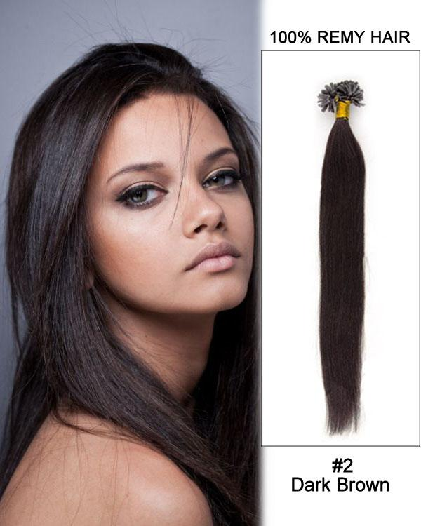16 – 24 Inch Nail U-Tip Remy Human Hair Extensions Straight (#2 Dark Brown)