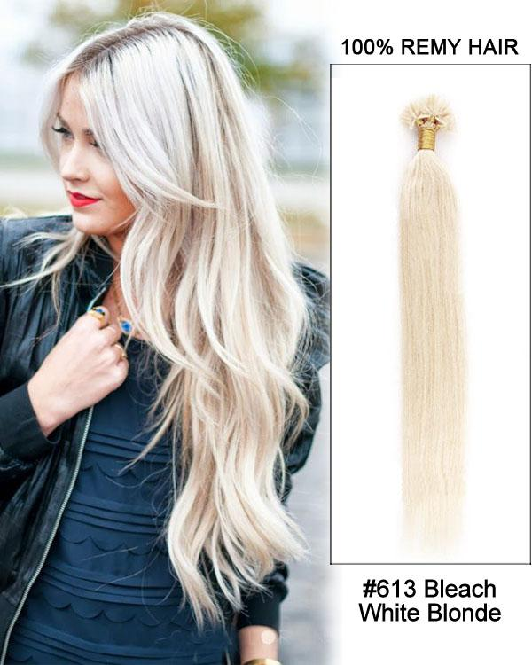 16 – 24 Inch Nail U-Tip Remy Human Hair Extensions Straight (#613 Bleach Blonde)