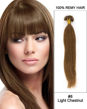 16 – 24 Inch Nail U-Tip Remy Human Hair Extensions Straight (#8 Ash Brown)