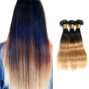 Ombre Human Remy Hair Extensions Straight 3 Bundles (#1B/#27)