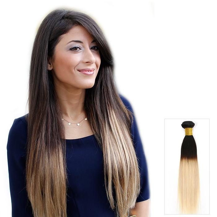16 – 26 Inch Ombre Human Remy Hair Extensions Straight (#1B/#613)