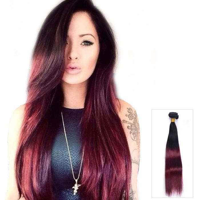 16 – 26 Inch Ombre Human Remy Hair Extensions Straight (#1B/#99J)