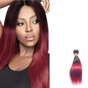 16 – 26 Inch Ombre Human Remy Hair Extensions Straight (#1B/Red)