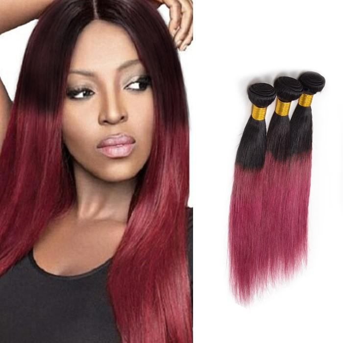 Ombre Human Remy Hair Extensions Straight 3 Bundles (#1B/Red)