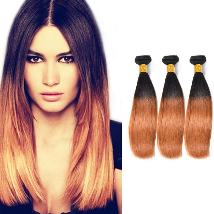 Ombre Human Remy Hair Extensions Straight 3 Bundles (#1B/#30)