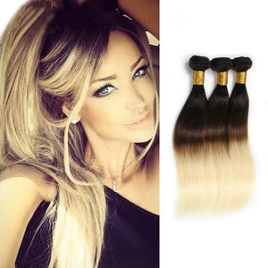 Ombre Human Remy Hair Extensions Straight 3 Bundles (#1B/#613)